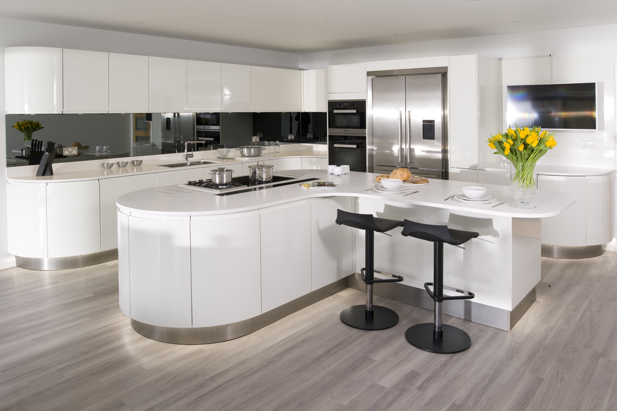 High Quality Curved High Gloss White Lacquer