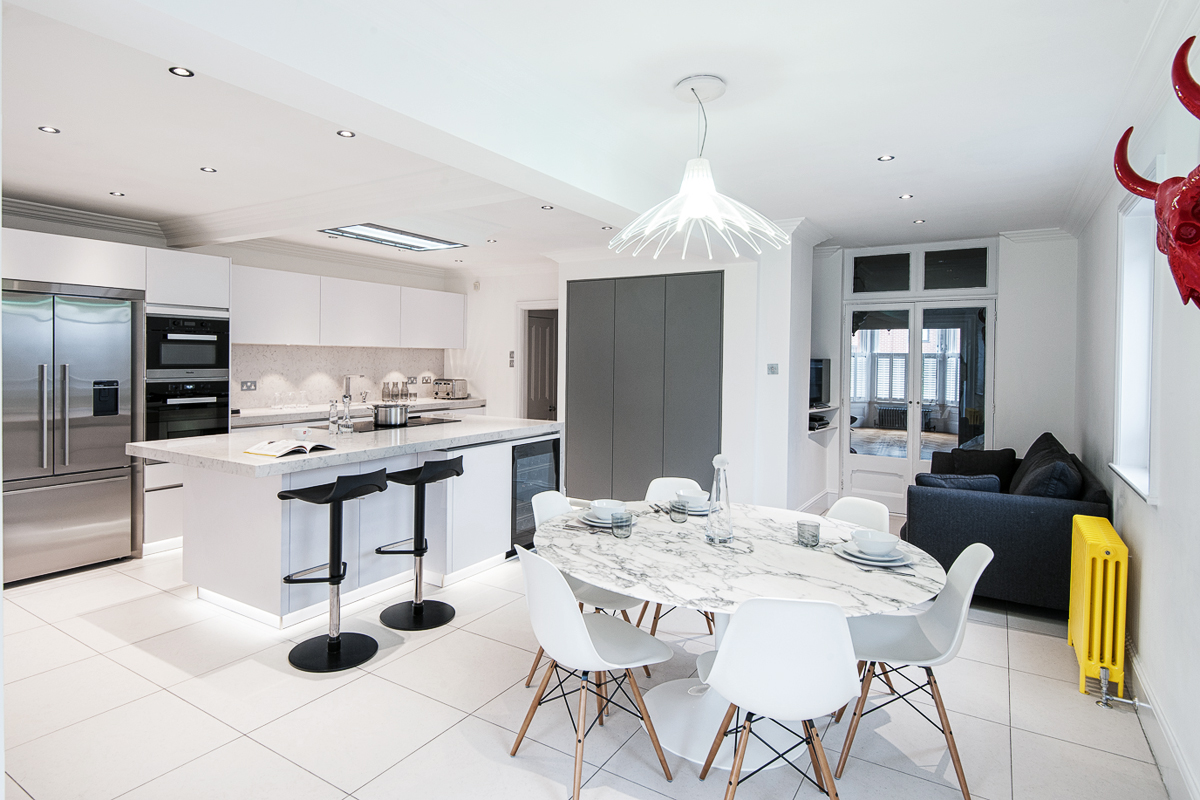 Gloss white and dust grey kitchen